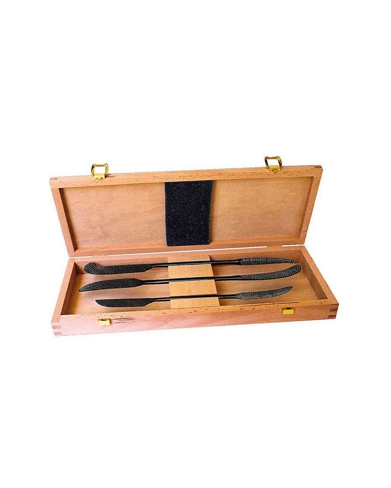 Raspenset in houten kistje 3 beeldhouwraspen 18, 20, 25 cm