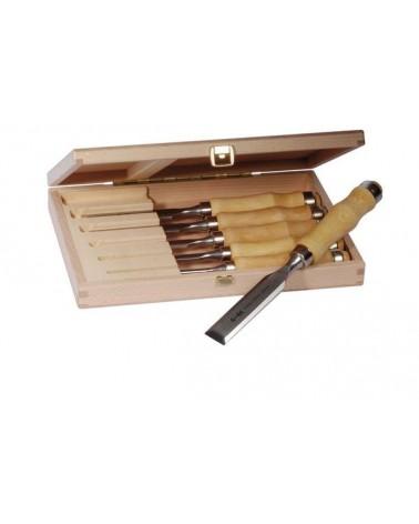 Steekbeitelset in houten kist 6 stuks