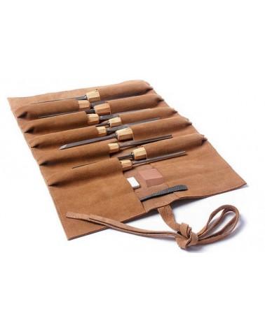 Lederrolltasche für Holzwerkzeug